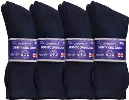 Yacht & Smith Men's Loose Fit Non-Binding Soft Cotton Diabetic Crew Socks Size 10-13 Navy Bulk Pack