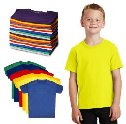 Kids Unisex Cotton Crew Neck T-Shirts, Assorted Sizes And Colors, Ages 4-12
