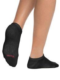 Hanes Woman Black Footie, No Show Ankle Socks