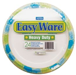EASY WARE PRINT DESIGN 10.25 24CT HEAVY DUTY PAPER PLATE MICROWAVE SAFEGREASE RESISTANT 12 pack