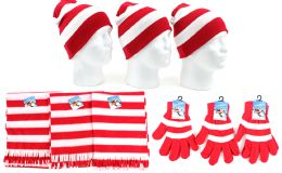 Christmas Striped Beanie Knit Hats, Magic Gloves, & Scarves 180 pack
