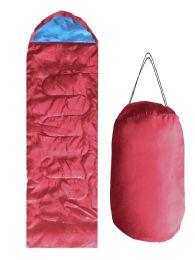 ADULTS SLEEPING BAG IN BURGUNDY BULK BUY 12 pack