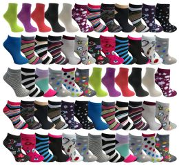 Assorted Pack Of Womens Low Cut Printed Ankle Socks Many Prints Assorted 60 pack