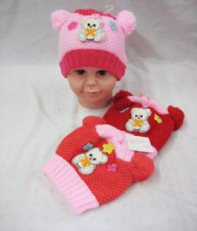 Baby Girls Beanie Hat With Pompom 72 pack