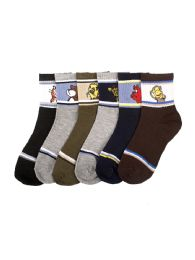 Boys Assorted Animal Printed Crew Sock Size 2-3 216 pack