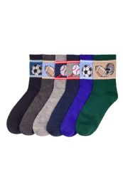 Boys Assorted Sport Printed Crew Sock Size 6-8 216 pack