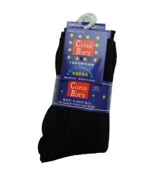 Boys Nylon Dress Socks, Boys Uniform Socks, Solid Black Size XL 144 pack