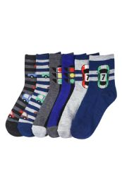 Boys Traffic Printed Crew Sock Size 6-8 216 pack