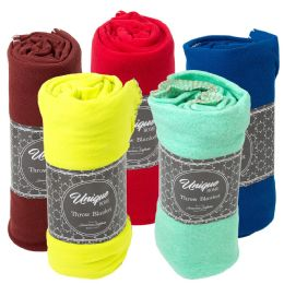 Closeout Premium Fleece Throw Blankets Bulk Buy 24 pack