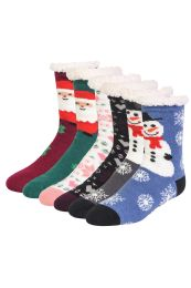 COZY THERMAL CHRISTMAS PRINTED NON-SKID SOCKS SIZE 6-8 48 pack