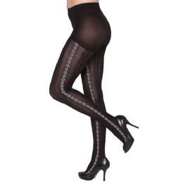 Queen Size Diamond Stripe Down Side Tights 24 pack