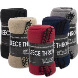 """Fleece Blankets 30"""" x 40"""" - 5 Assorted Colors - Bulk Buy 24 pack"""