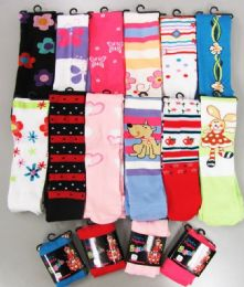 Girls Acrylic Tights with Print Size Medium 120 pack