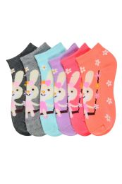 GIRLS ANKLE SOCK PRINTED BUNNY DESIGN SIZE 6-8 432 pack