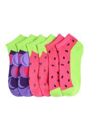 Girls Fruit Printed Ankle Socks Size 6-8 432 pack
