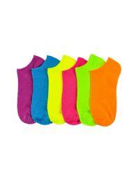 Girls Neon Spandex Ankle Socks Size 9-11 216 pack