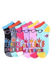 Girls Printed Casual Spandex Ankle Socks Size 6-8 432 pack