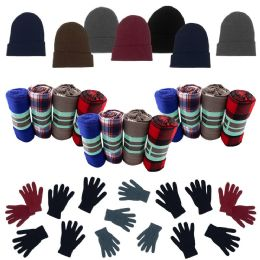 Homeless Care Package Supplies - Bulk Case of 12 Glove Pairs, 12 Winter Throw Blankets, 12 Beanies 36 pack