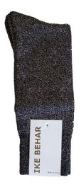 Ike Behar Men's Designer Glitter Dress Socks, Tuxedo Socks , Fits Shoe Sizes 7-12 Black Black Silver Sparkle