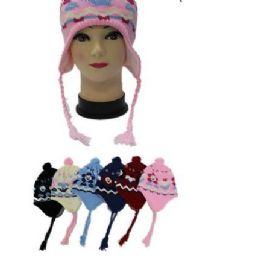 Kids Flower Printed Helmet Winter Hat 96 pack