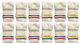 Yacht & Smith Kids Cotton Tube Socks White With Stripes Size 4-6