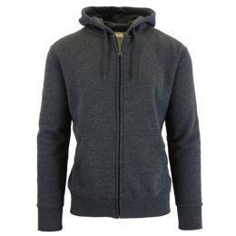 Men's FleecE-Lined Zip Hoodie Solid Gray Bulk Buy