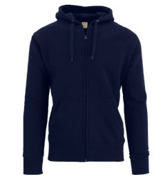 Men's FleecE-Lined Zip Hoodie Solid Navy Bulk Buy