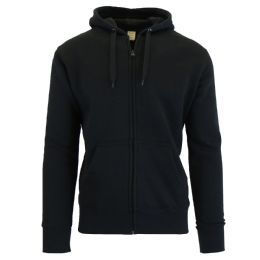 Men's First Quality Fleece-Lined Zip Hoodie Solid Black BULK BUY 24 pack