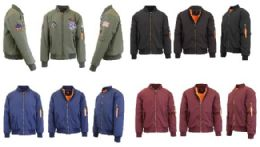 Men's Heavyweight MA-1 Flight Bomber Jackets Pallet Deal Mix Sizes Colors 192 pack