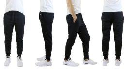 Men's Slim Fit Fleece Jogger Sweatpants With Zipper Pockets, Solid Black 30 pack