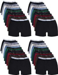 Mens 100% Cotton Boxer Briefs Underwear, Assorted Colors Large