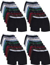 Mens 100% Cotton Boxer Briefs Underwear, Assorted Colors Medium