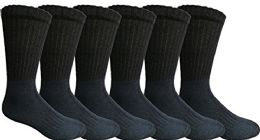 Mens Anti-Microbial Crew Socks, Comfort Knit Ringspun Cotton, Terry Lined (6 Pack Navy) 6 pack