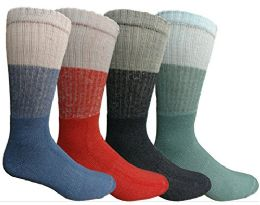 Mens Anti-Microbial Crew Socks, Comfort Knit Ringspun Cotton, Terry Lined 60 pack