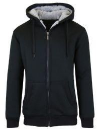 Mens Black Fleece Line Sherpa Hoodies Black Size Large