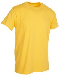 Mens Cotton Short Sleeve T Shirts Solid Yellow 4XL