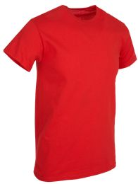 Mens Cotton Short Sleeve T Shirts Solid Red Size 3XL