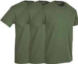 Mens Military Green Cotton Crew Neck T Shirt Size Large