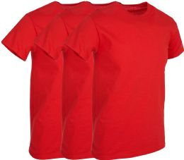 Mens Red Cotton Crew Neck T Shirt Size 2X Large