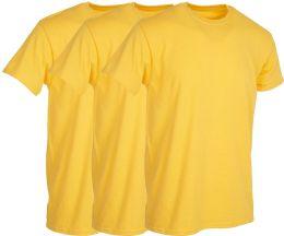 Mens Yellow Cotton Crew Neck T Shirt Size Large