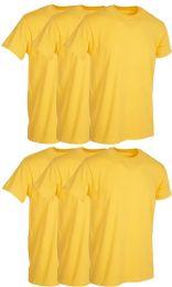 Mens Yellow Cotton Crew Neck T Shirt Size 2X Large
