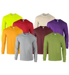 Mill Graded Gildan Irregular Adults Long Sleeve T-Shirts Assorted Colors And Sizes 72 pack