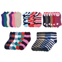 Socks Women's Warm Fuzzy Slipper Soft Plush Cozy Casual 72 pack