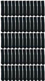 Yacht & Smith Kids Black Solid Tube Socks Size 4-6 12 pack