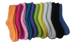 Yacht & Smith Women's Solid Colored Fuzzy Socks Assorted Colors, Size 9-11 48 pack