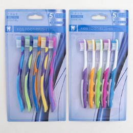 Toothbrush 5pc Kids Two Assorted Colors Age Groups 2-6 36 pack