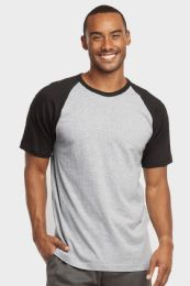 TOP PRO MENS SHORT SLEEVE BASEBALL TEE IN BLACK AND LIGHT GREY SIZE X LARGE 30 pack