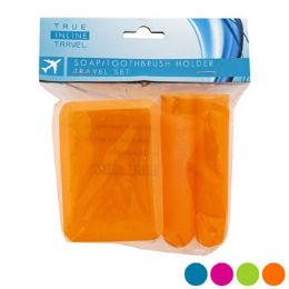 Travel Set Soap And Toothbrush Holder Assorted Colors 48 pack