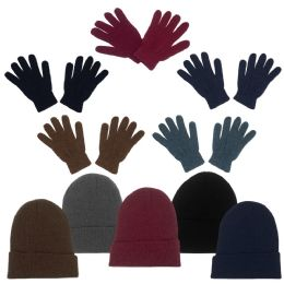 Unisex Adult Winter Beanie, Gloves in 5 Assorted Colors 96 pack