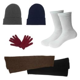 Unisex Socks (Size 10-13), Winter Gloves, Scarf, Beanie in 5 Assorted Colors 96 pack